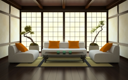 living room interior: Interior in Japanese style 3D rendering Stock Photo