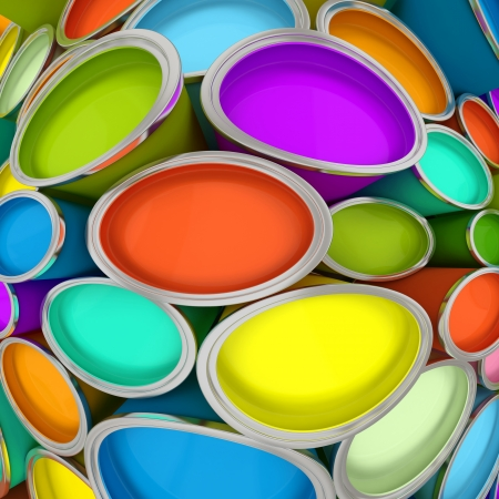 Banks of multicolored paint 3D rendering Stock Photo - 15151119