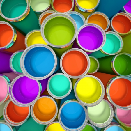 Banks of multicolored paint 3D rendering Stock Photo - 15151120