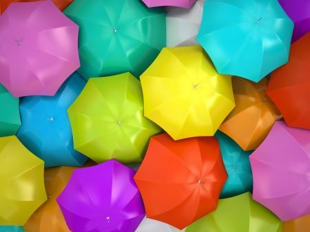 カラフルな傘 3 D レンダリング