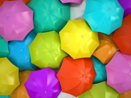 weather protection: Colorful umbrellas 3D rendering