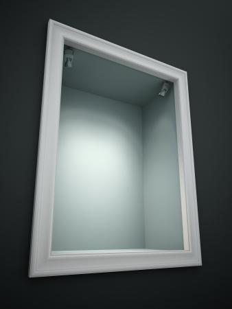 show window: Empty showcase of a shop 3D rendering