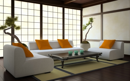 Interior in Japanese style 3D rendering photo