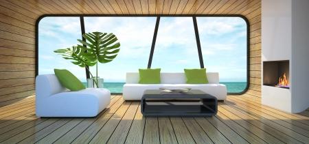 arredamento classico: Interni moderni del rendering 3D di casa sulla spiaggia Archivio Fotografico