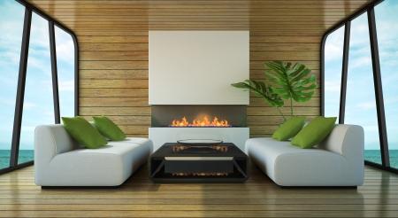 ビーチの家の 3 D レンダリングのモダンなインテリア