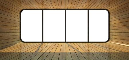 Wood empty room with big window 3D rendering photo