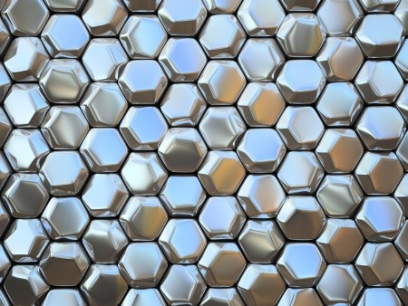 Abstract pattern of hexahedron metal pieces illustration Stock Photo