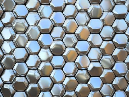 Abstract pattern of hexahedron metal pieces illustration Standard-Bild