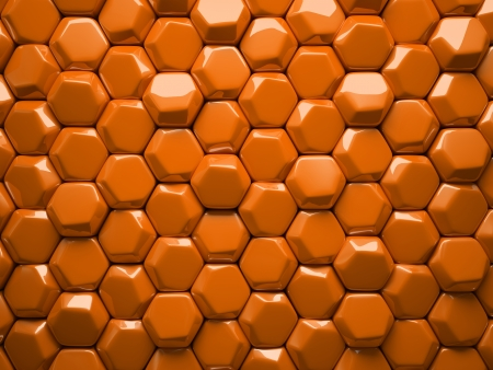 hexahedron: Abstract pattern of hexahedron orange pieces illustration Stock Photo