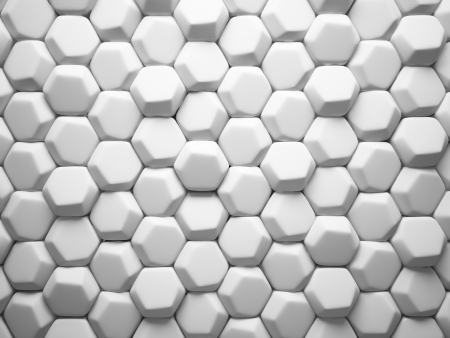 hexahedron: Abstract pattern of hexahedron white pieces illustration