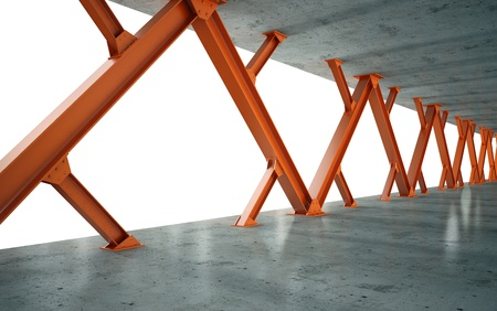beams and concrete structure 3D rendering Stock Photo