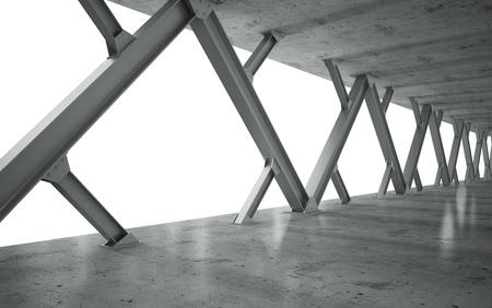 하부 구조: 빔과 콘크리트 구조물의 흑백
