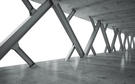 steel arch bridge: beams and concrete structure monochrome