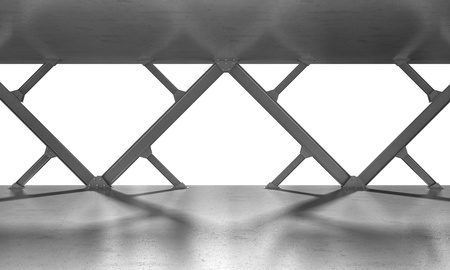 iron beams 3D rendering monochrome photo
