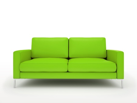 Modern green sofa isolated on white background illustration illustration