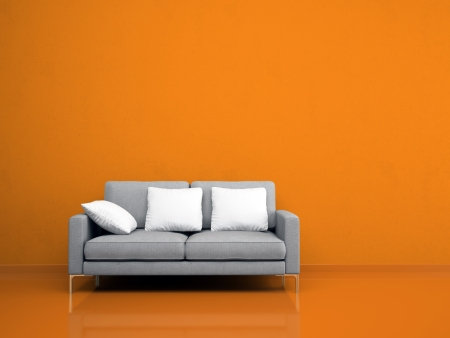 Sof� gris moderno en la pared naranja ilustraci�n photo