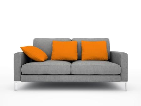 Moderne graue Sofa mit orangen Kissen auf wei�em Hintergrund isoliert