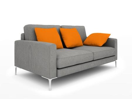 図は白い背景上に分離されてオレンジ色の枕と近代的なグレーのソファー 写真素材