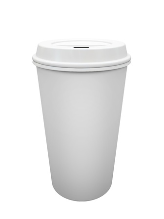 disposable: Paper cup of coffee isolated on white background illustration