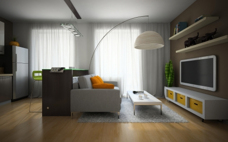 modern living room: Part of the modern apartment illustration
