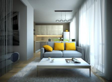fridge lamp: Part of the modern apartment illustration