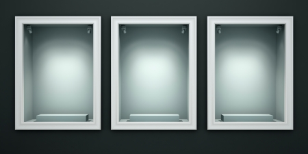 wholesale: Three empty showcases of the shop illustration