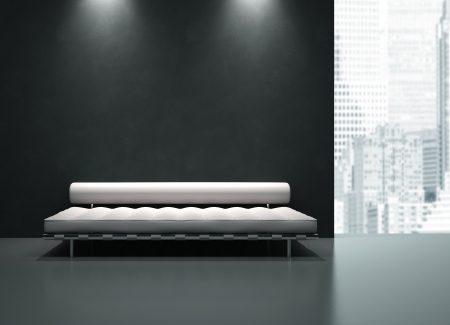 modern living room: View on the monochrome interior in skyscraper 3D rendering Stock Photo