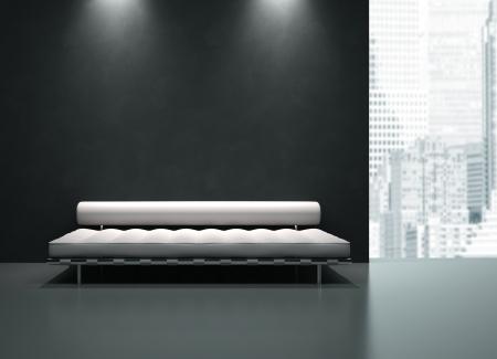 Zicht op de zwart-wit interieur in wolkenkrabber 3D-rendering