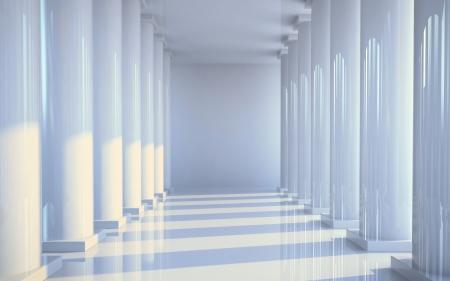 White hall with columns illustration illustration