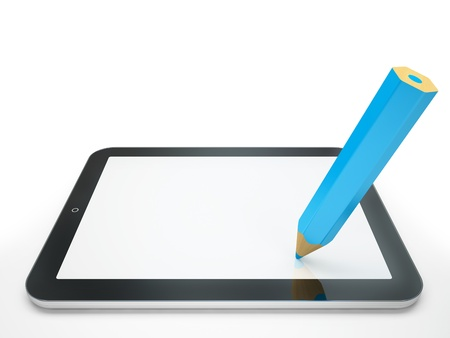 pda: Computer tablet and pencil isolated on white background illustration