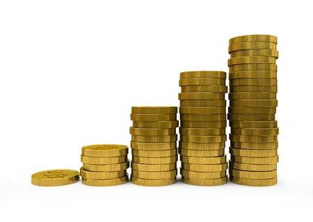 Business Graph with arrow and coins showing profits and gains Stock Photo - 16175273