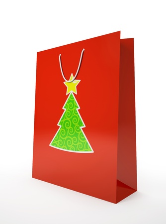 carrier bag: Christmas carrier paper bag isolated on white background illustration Stock Photo