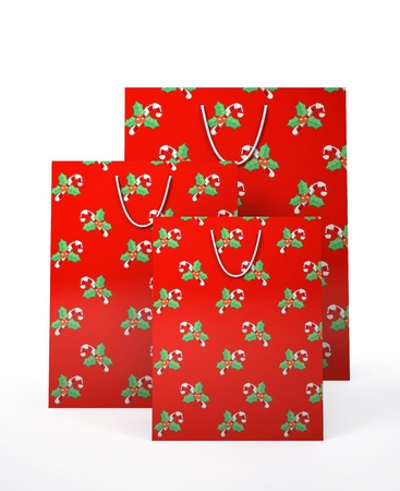 Christmas carrier paper bags isolated on white background illustration Stock Illustration - 16175269