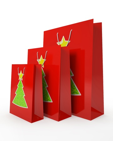 Christmas carrier paper bags isolated on white background illustration Stock Illustration - 16175250