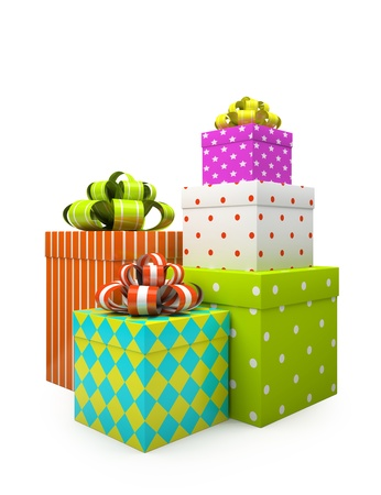Color gift boxes isolated on white backgroung illustration Stock Illustration - 16175254