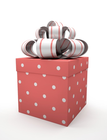 Pink gift box with bow isolated on white backgroung illustration Stock Illustration - 16175257