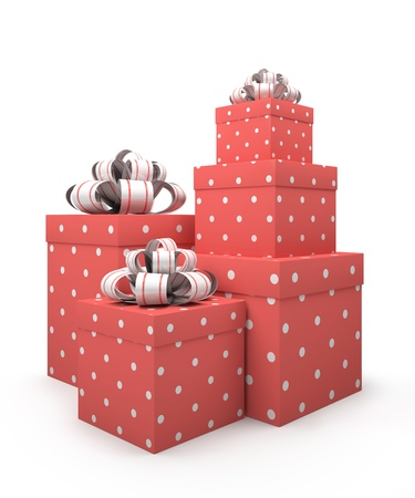Pink gift boxes isolated on white backgroung illustration Stock Illustration - 16175249