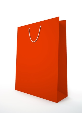 carrier bag: Red carrier paper bag isolated on white background illustration Stock Photo
