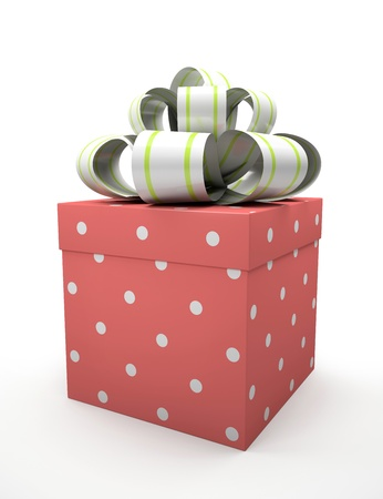 Red gift box with bow isolated on white backgroung illustration Stock Illustration - 16175252