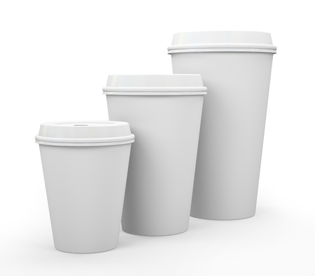 takeout: White paper cups of coffee isolated on background illustration