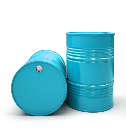 petroleum blue: Blue Metal barrels isolated on white background illustration