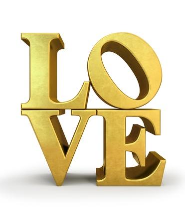 letras doradas: Letras de oro amor aislado en ilustración de fondo blanco Foto de archivo