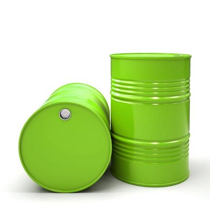 Groen Metalen vaten geïsoleerd op witte achtergrond illustratie Stockfoto
