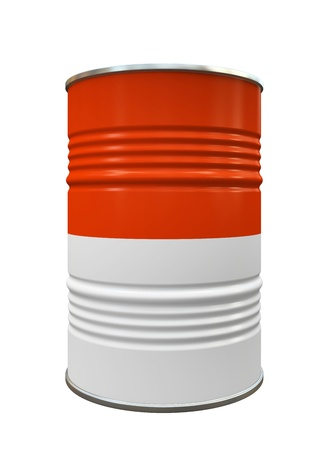 gallon: Red and White Metal barrel isolated on white background illustration