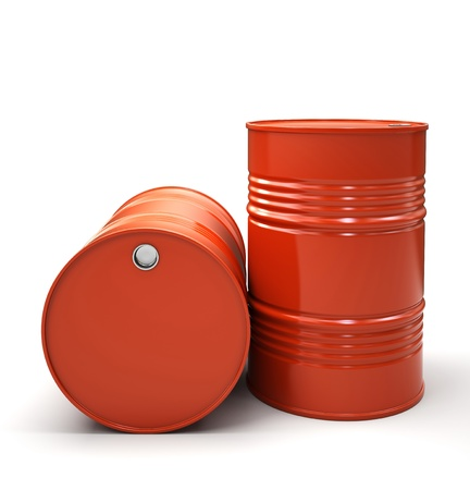 Red Metal barrels isolated on white background illustration