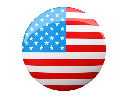 Button with American flag illustration Stock Photo