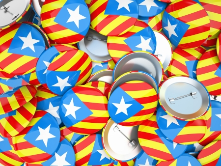catalonia: Buttons with Catalonia flag illustration