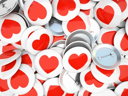 Buttons wirh red  hearts isolated on background 3D rendering photo