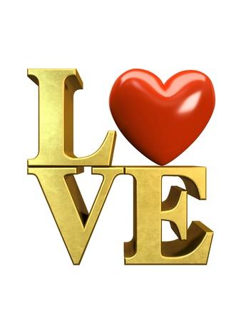 typesetter: Gold letters LOVE isolated on white background illustration