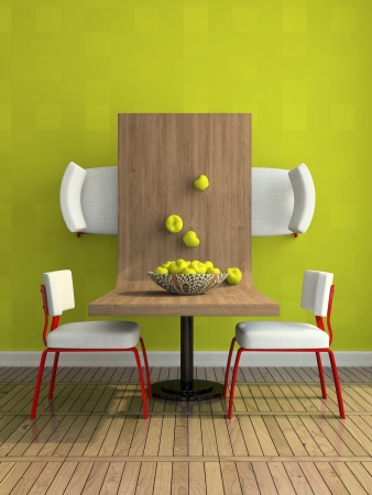 diningroom: Part of the abstract dining-room illustration
